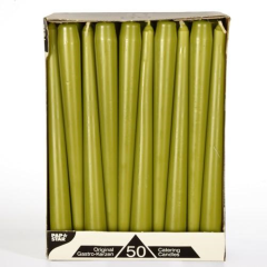 50 Taper candles 2;2 cm 25 cm olive green