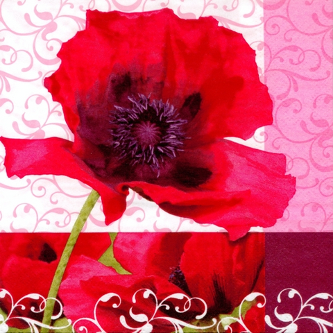 "20 Napkins ""Poppy Flower"" Medium"