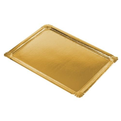 5 Serving Trays Gold Cardboard
