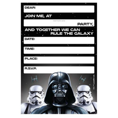 8 Star Wars Classic Invitation cards