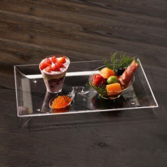 6 Trays Plastic Fingerfood Clear 26.6cm x 18cm