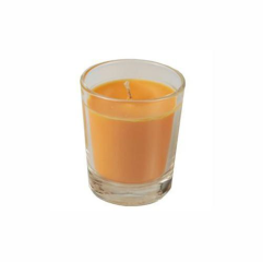 Candle Glass filled with Orange wax 56 x 67mm