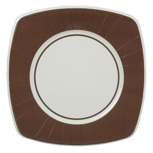 8 Plates Paper Brown Square 26cm