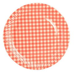 20 Plates Paper Red Checkered 26cm Round