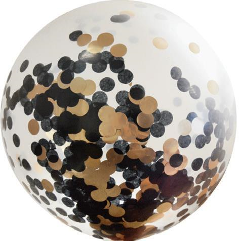 Balloon Latex Confetti 90cm Black and Rose Gold
