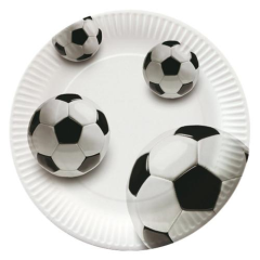 "10 Plates Paper ""Soccer"" Round 23cm"