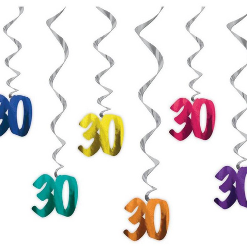 6 Hanging Decorations 30 assorted colours