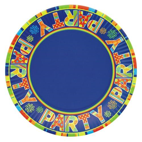"10 Plates Paper ""New Party"" 23cm Round"