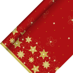 Tablecloth Airlaid 25m x 1.18m 'Red Stars'