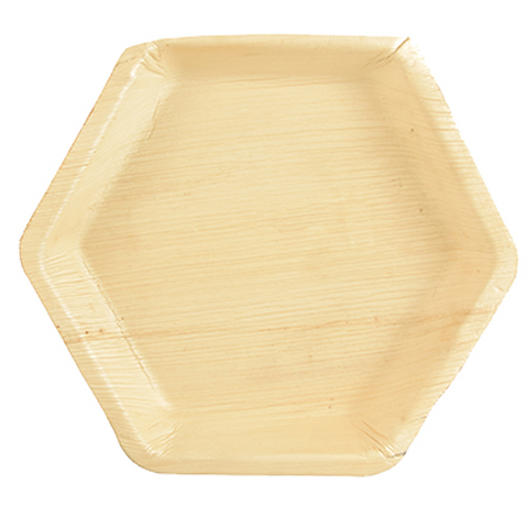"25 Plates Palm leaf ""pure"" 23,5 cm x 3 cm hexagonal"