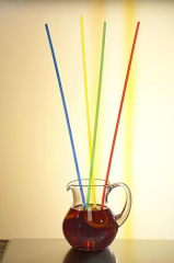 100 Drinking straws Plastic 21cm Colours Assorted 3 mm.