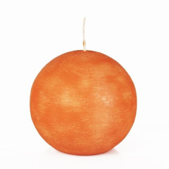 Ball Candle Round 8cm Orange
