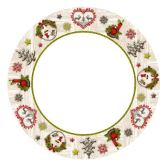10 Plates Paper Round 23cm Christmas