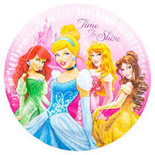 8 Plates Paper Disney Princess Sparkle