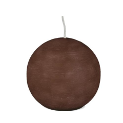 Ball candle round 8 cm brown brushed