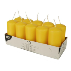 10 Pillar Candles 40 x 90 mm Golden Yellow