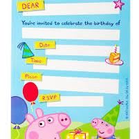 8 Invitations Peppa Pig