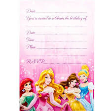 8 Invitations Disney Princess Sparkle