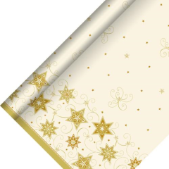 Tablecloth Air laid 25m x 1.18m Sparkling Stars Cream