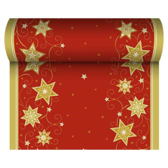 "Table Runner Cloth-like; Airlaid Red ""Just Stars"" 24m x 40cm Roll"