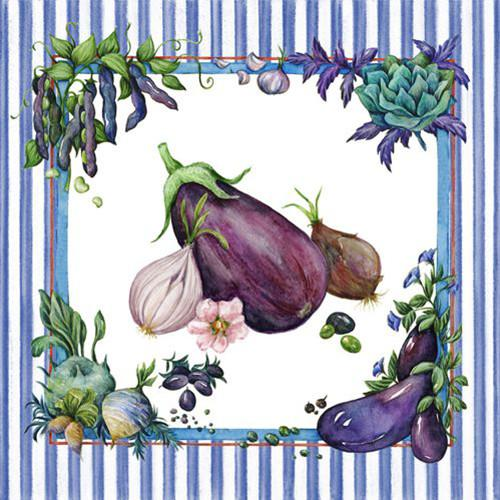 "20 Napkins Blue ""Vegetables"" Medium"