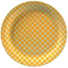 "20 Plates Paper Yellow ""Checkered"" 26cm Round"
