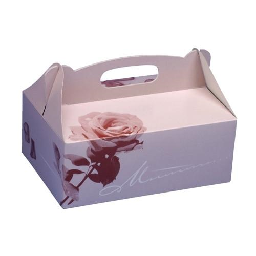 20 Cake boxes with handle square 20 x 13 x 9 cm Rose
