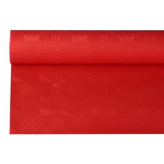 Paper Tablecloth With Damast Embossing 8 m x 1.2 m Red