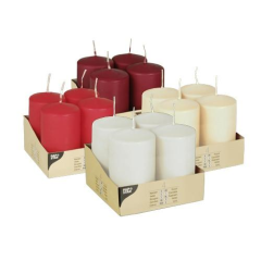 4 Pillar candles White, Burgundy, Red and Cream 60 x 110 mm