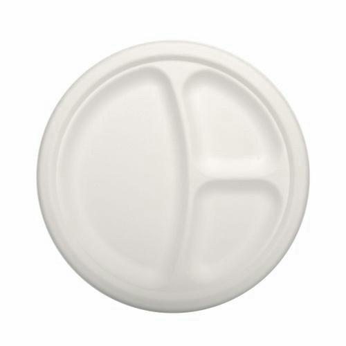 12 Plates 3-compartments White 23cmx 2cm Pure