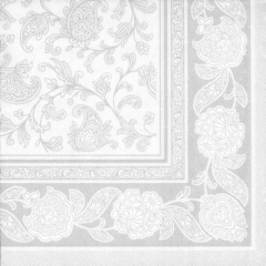 "20 Napkins White ""Ornaments"" ""ROYAL Collection"" Large"