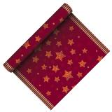 "Table Runner, cloth-like, Airlaid 3m x 40 cm Red ""Sparkling Stars"""