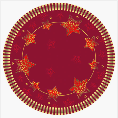 10 Plates Paper 23cm Sparkling Stars Red