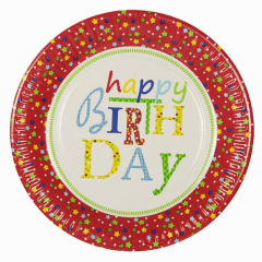 "10 Plates Paper ""Happy Birthday"" 23cm Round"