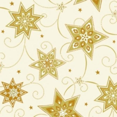 "100 Napkins; 3-ply 1/4 fold 33 cm x 33 cm cream ""Just Stars"""
