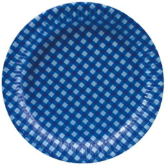 "20 Plates Paper Brilliant Blue ""Checkered"" 26cm Round"