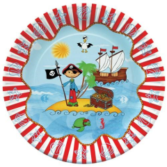 "10 Plates Paper ""Pirate Island"" Round 23cm"
