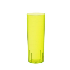 10 Glasses Plastic Longdrink 300ml - Yellow