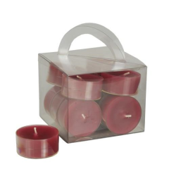 12 Tealights 38 mm 18 mm bordeaux in PC; completely colored