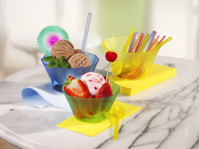 10 Bowls Plastic Ice Cream 400ml - Clear