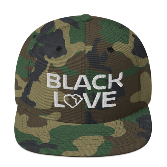 Black Love Snapback Hat - Camo
