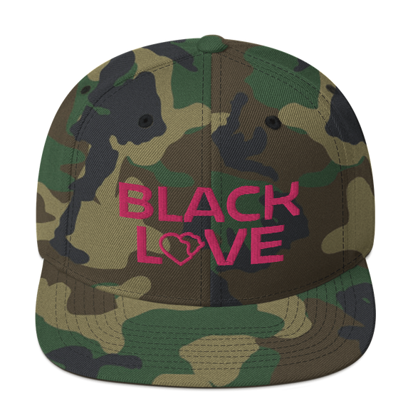 Black Love Snapback Hat - Camo Pink