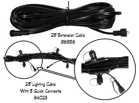 25' LIGHT CABLE W/5 QUICK CONNECTS