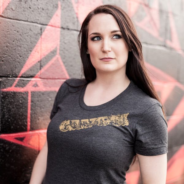 Glyph clothing ornate text graphic t-shirt