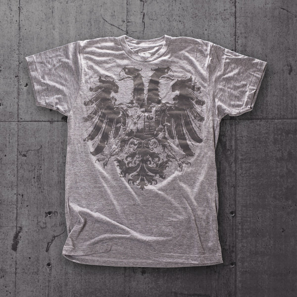 Heather grey Glyph t-shirt with a dark grey gryphon screen print