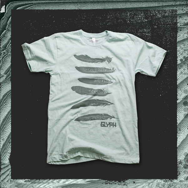 Glyph Clothing seafoam t-shirt with single colour feather design printed on the front.
