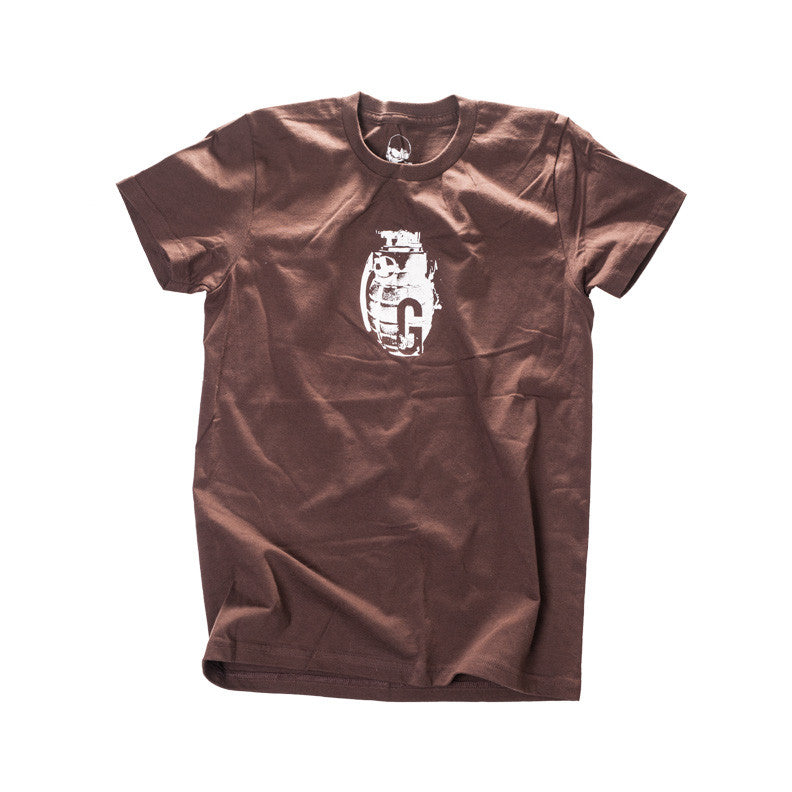 Glyph Clothing - A women's brown tee with a white grenade print