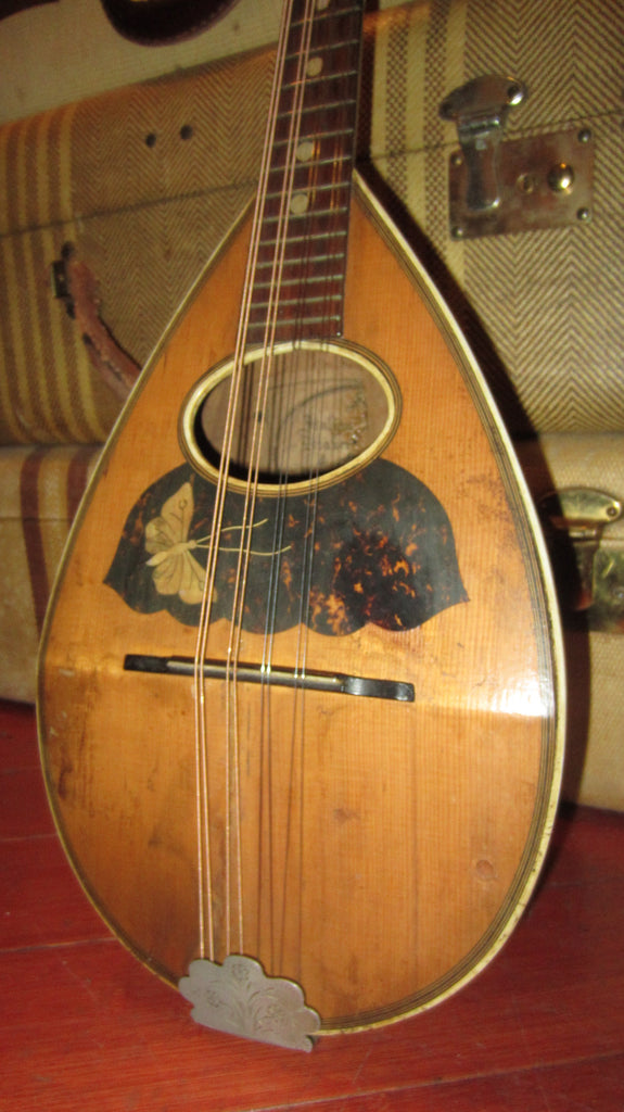 Vintage 1910 Unknown Bowl Back Mandolin Natural w/ Butterfly