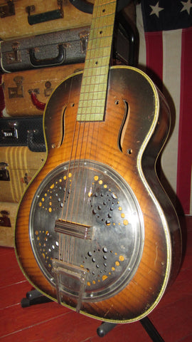 Vintage Original 1939 Harmony Radio Star Resonator Guitar Sunburst w/ Sparkle Neck