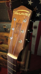 Vintage original circa 1950s Harmony early H165 OM sized figure 8 acoustic flattop